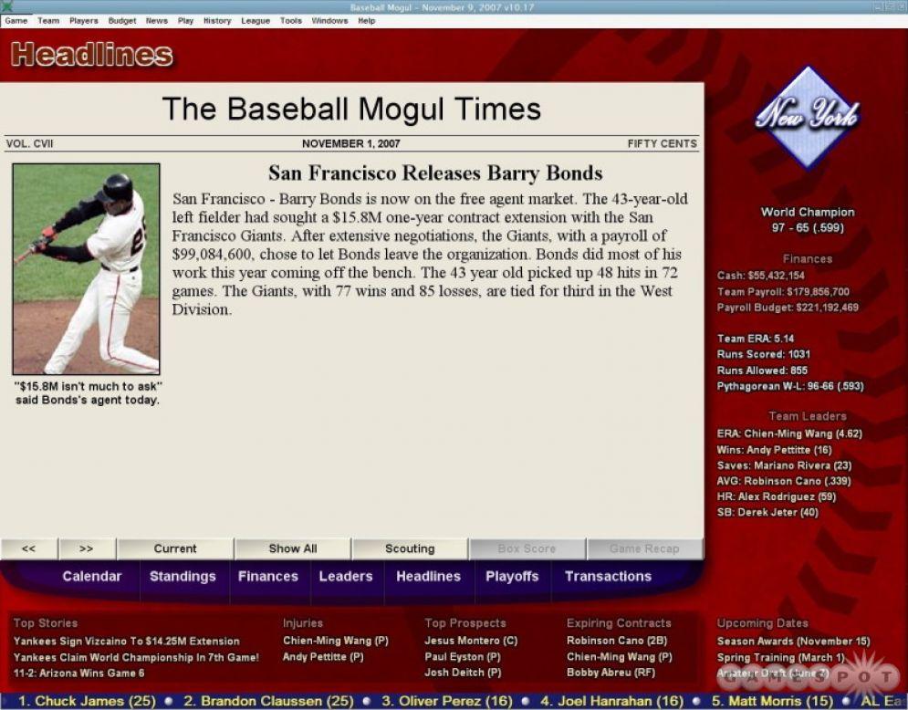 Screenshot ze hry Baseball Mogul 2008 - Recenze-her.cz
