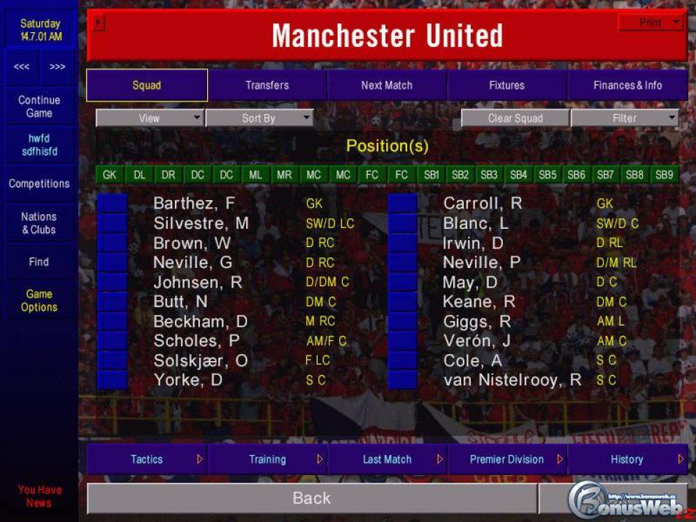 Screenshot ze hry Championship Manager 01/02 - Recenze-her.cz