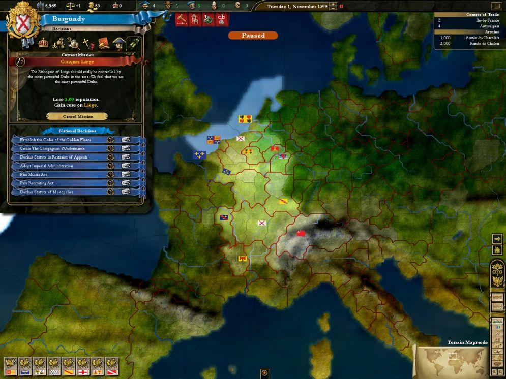 Screenshot ze hry Europa Universalis III: In Nomine - Recenze-her.cz
