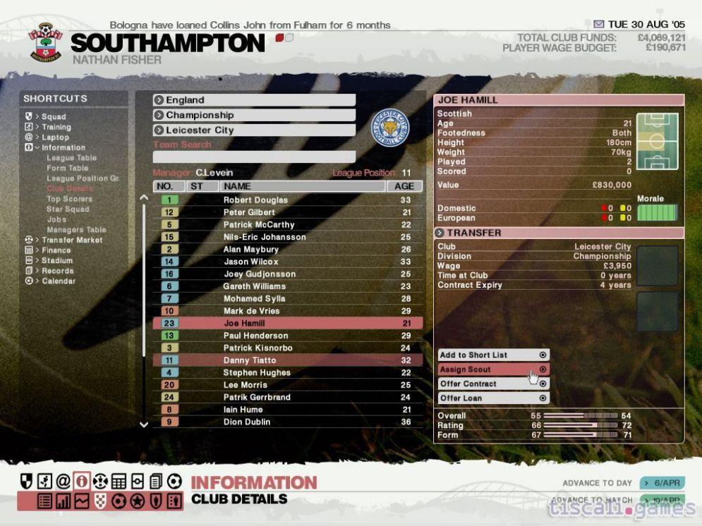 Screenshot ze hry LMA Manager 2006 - Recenze-her.cz