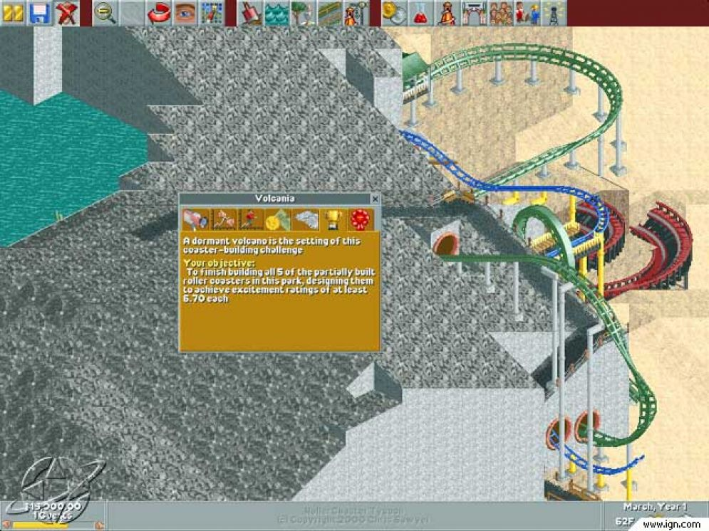 Screenshot ze hry RollerCoaster Tycoon: Loopy Landscapes - Recenze-her.cz